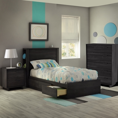 Gray Oak Fynn 4 Piece Bedroom Set - Fynn Twin Mates Bed, Headboard, 5 Drawer Chest and Nightstand by South Shore