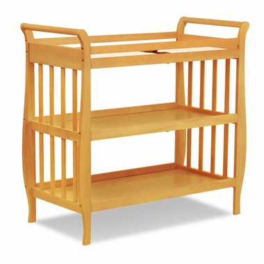 Honey Oak Emily Sleigh Changing Table with Drawer by DaVinci - Click to enlarge