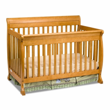 Honey Oak Kalani 4 in 1 Convertible Sleigh Crib by DaVinci - Click to enlarge