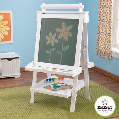 Kidkraft Deluxe Wood Easel in White - Click to enlarge