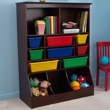 Kidkraft Wall Storage Unit with Bins in Espresso - Click to enlarge