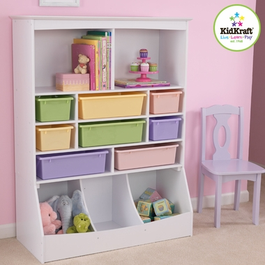 Kidkraft Wall Storage Unit with Bins in White - Click to enlarge