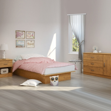 Country Pine Libra 3 Piece Bedroom Set - Libra Twin Platform Bed, 3 Drawer Door Dresser and Nightstand by South Shore