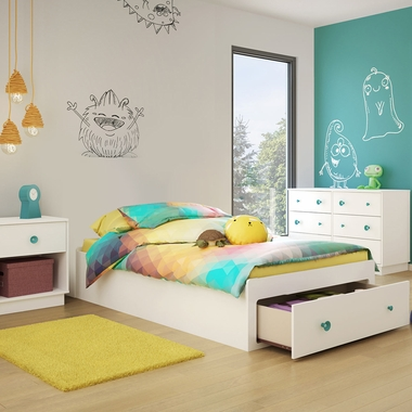 Pure White Little Monsters 3 Piece Bedroom Set - Little Monsters Twin Mates Bed, Double Dresser and Nightstand by South Shore