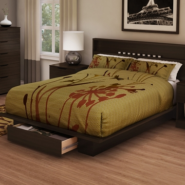 Mocha Holland Full/Queen Platform Bed by SouthShore - Click to enlarge