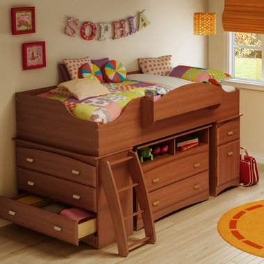 Morgan Cherry Imagine 3 Piece Loft Bed by SouthShore - Click to enlarge