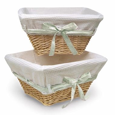 Natural Basket with White Waffle Liner and 4 Ribbons by Badger Basket - Click to enlarge