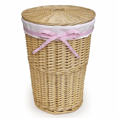 Natural Round Rattan Hamper with White Waffle Liner with 4 Ribbons by Badger Basket - Click to enlarge