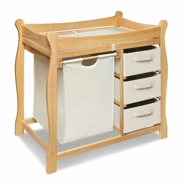 Natural Sleigh Changing Table with Hamper and 3 Baskets by Badger Basket - Click to enlarge