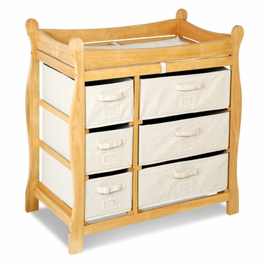 Natural Sleigh Changing Table with Six Baskets by Badger Basket - Click to enlarge