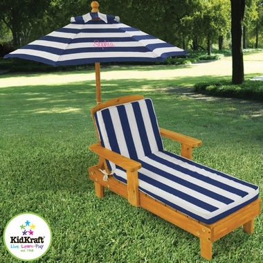 Outdoor Chaise with Umbrella in Navy Stripe Fabric by KidKraft