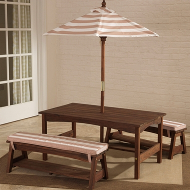 Kidkraft Outdoor Table and Bench Set in Taupe & White Stripe