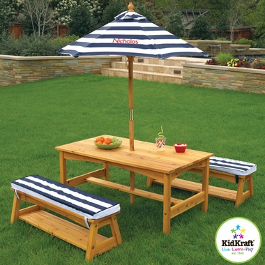 Outdoor Table & Chair Set with Navy Stripe Cushions by KidKraft
