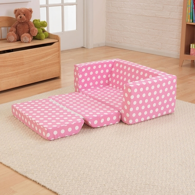 Pink and White Polka Dots Lil' Lounger with Fold-Out Bottom by KidKraft