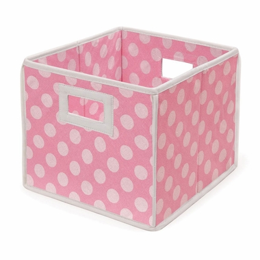 Pink Polka Dot Folding Nursery Basket/Storage Cube by Badger Basket - Click to enlarge
