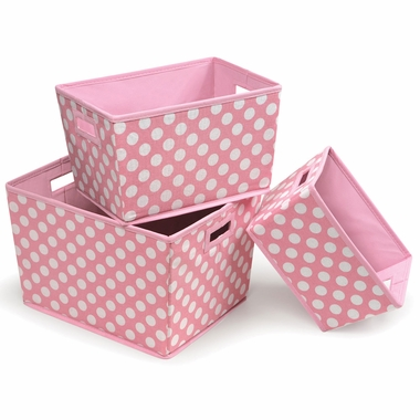 Pink Polka Dot Set of 3 Trapezoid Shape Nesting Baskets by Badger Basket - Click to enlarge