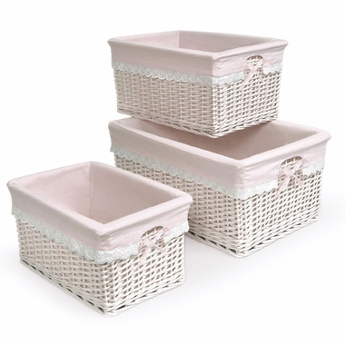 Pink Three Basket Set with Liners by Badger Basket - Click to enlarge