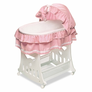 Pink Toybox Bassinet Waffle Ruffled by Badger Basket - Click to enlarge