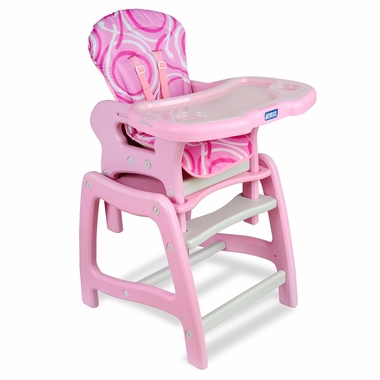 Pink & White Envee High Chair with Play Table by Badger Basket - Click to enlarge