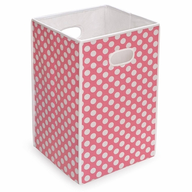 Pink with White Polka Dots Folding Hamper and Storage Bin by Badger Basket - Click to enlarge