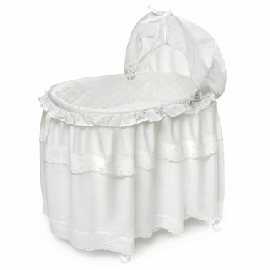 Portable Bassinet 'N Cradle With Toybox Base and White Batiste Floor Length Skirt by Badger Basket - Click to enlarge