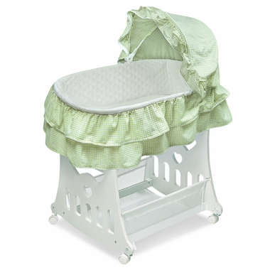Portable Bassinet 'N Cradle With Toybox Base with Sage Gingham Half Skirt by Badger Basket - Click to enlarge