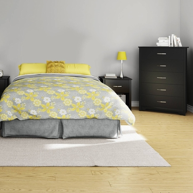 Pure Black Fusion 3 Piece Bedroom Set - Step One Full/Queen Platform Bed, Fusion 5 Drawer Chest and Nightstand by South Shore - Click to enlarge