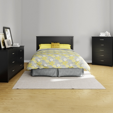 Pure Black Fusion 4 Piece Bedroom Set - Step One Full/Queen Platform Bed, Fusion Full / Queen Headboard, Double Dresser and 5 Drawer Chest by South Shore - Click to enlarge