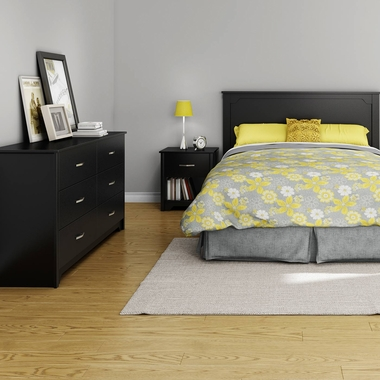 Pure Black Fusion 4 Piece Bedroom Set - Step One Full/Queen Platform Bed, Fusion Full / Queen Headboard, Double Dresser and Nightstand by South Shore - Click to enlarge