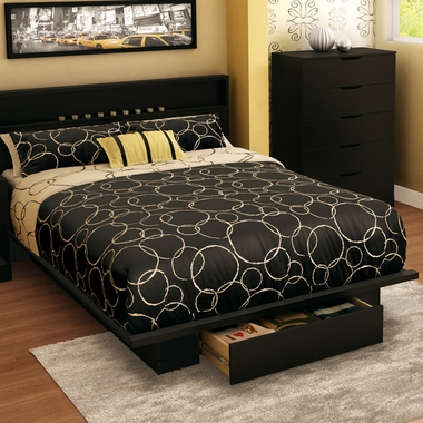 Pure Black Holland Full/Queen Platform Bed by SouthShore - Click to enlarge