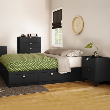Pure Black Karma 3 Piece Bedroom Set - Karma Full Mates Bed, 5 Drawer Chest and Nightstand by South Shore - Click to enlarge