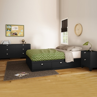 Pure Black Karma 3 Piece Bedroom Set - Karma Full Mates Bed, Double Dresser and Nightstand by South Shore - Click to enlarge