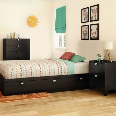 Pure Black Karma 3 Piece Bedroom Set - Karma Twin Mates Bed, 5 Drawer Chest and Nightstand by South Shore - Click to enlarge
