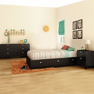 Pure Black Karma 3 Piece Bedroom Set - Karma Twin Mates Bed, Double Dresser and Nightstand by South Shore - Click to enlarge