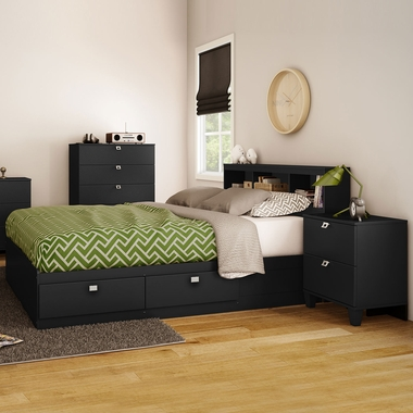 Pure Black Karma 4 Piece Bedroom Set - Karma Full Mates Bed, Bookcase Headboard, 5 Drawer Chest and Nightstand by South Shore - Click to enlarge