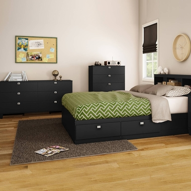 Pure Black Karma 4 Piece Bedroom Set - Karma Full Mates Bed, Bookcase Headboard, Double Dresser and 5 Drawer Chest by South Shore - Click to enlarge