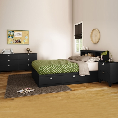 Pure Black Karma 4 Piece Bedroom Set - Karma Full Mates Bed, Bookcase Headboard, Double Dresser and Nightstand by South Shore - Click to enlarge