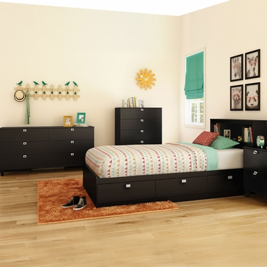 Pure Black Karma 4 Piece Bedroom Set - Karma Twin Mates Bed, Bookcase Headboard, Double Dresser and 5 Drawer Chest by South Shore - Click to enlarge