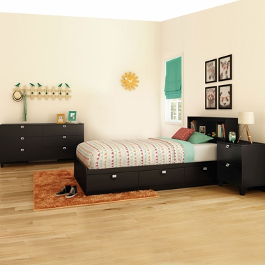 Pure Black Karma 4 Piece Bedroom Set - Karma Twin Mates Bed, Bookcase Headboard, Double Dresser and Nightstand by South Shore - Click to enlarge