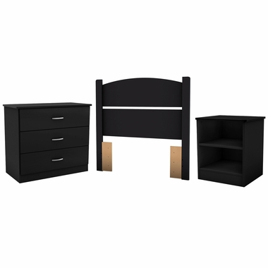 Pure Black Libra Twin 3-Piece Bedroom in a Box by South Shore - Click to enlarge