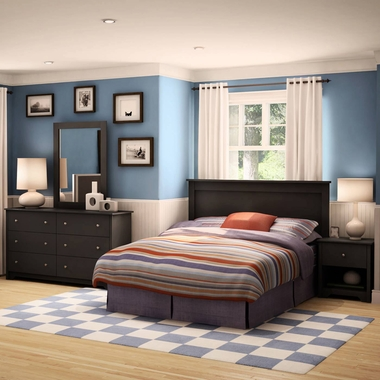 Pure Black Vito 3 Piece Bedroom Set - Vito Twin Mates Bed, Double Dresser and Nightstand by South Shore - Click to enlarge