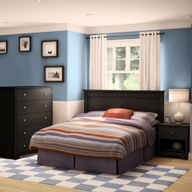 Pure Black Vito 4 Piece Bedroom Set - Vito Twin Mates Bed, Headboard, 5 Drawer Chest and Nightstand by South Shore - Click to enlarge