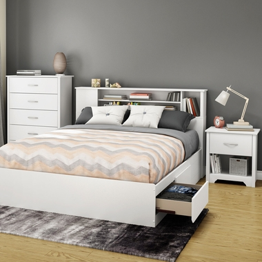 Pure White Fusion 3 Piece Bedroom Set - Fusion Queen Mates Bed, 5 Drawer Chest and Nightstand by South Shore - Click to enlarge