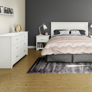 Pure White Fusion 3 Piece Bedroom Set - Fusion Queen Mates Bed, Double Dresser and Nightstand by South Shore - Click to enlarge