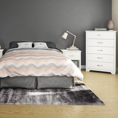 Pure White Fusion 3 Piece Bedroom Set - Step One Full/Queen Platform Bed, Fusion 5 Drawer Chest and Nightstand by South Shore - Click to enlarge