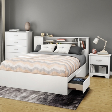 Pure White Fusion 4 Piece Bedroom Set - Fusion Queen Mates Bed, Bookcase Headboard, 5 Drawer Chest and Nightstand by South Shore - Click to enlarge