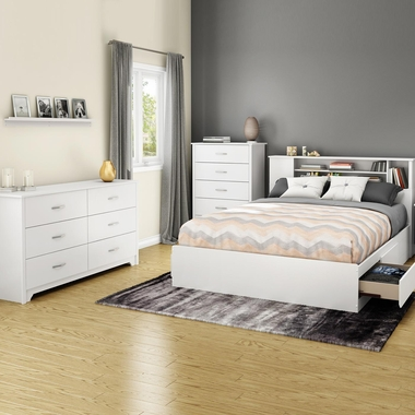 Pure White Fusion 4 Piece Bedroom Set - Fusion Queen Mates Bed, Bookcase Headboard, Double Dresser and 5 Drawer Chest by South Shore - Click to enlarge