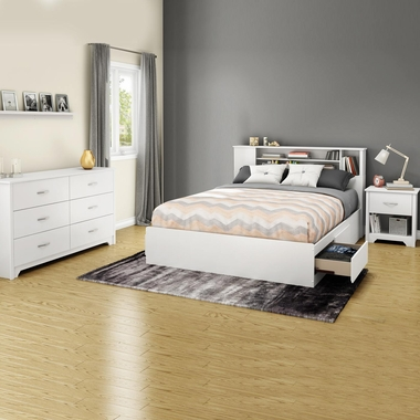Pure White Fusion 4 Piece Bedroom Set   Fusion Queen Mates Bed, Bookcase  Headboard,