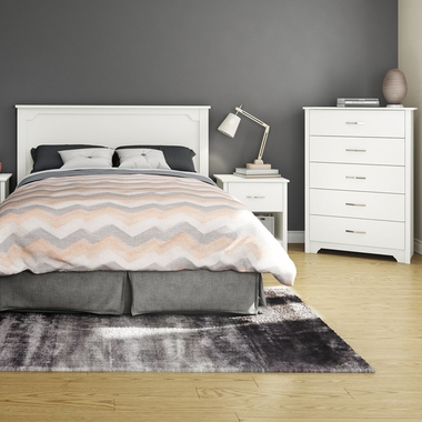 Pure White Fusion 4 Piece Bedroom Set - Step One Full/Queen Platform Bed, Fusion Full / Queen Headboard, 5 Drawer Chest and Nightstand by South Shore - Click to enlarge