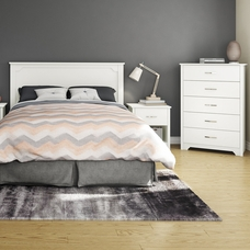 Pure White Fusion 4 Piece Bedroom Set   Step One Full/Queen Platform Bed,